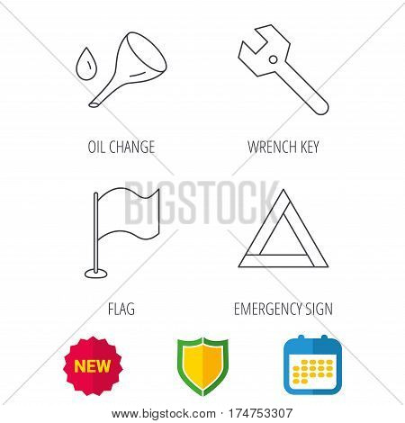 Flag pointer, emergency sign and wrench key icons. Emergency triangle, oil change linear signs. Shield protection, calendar and new tag web icons. Vector