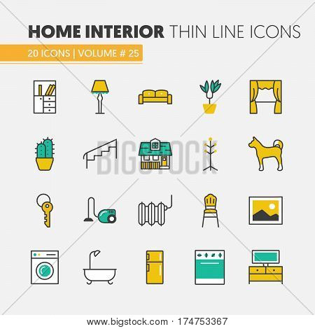 House Interior Linear Thin Line Vector Icons Set with Furniture