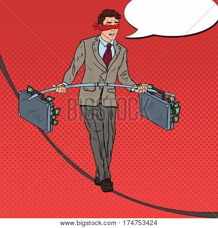 Pop Art Scared Businessman Walking on the Rope with Two Money Briefcase. Investment Risk. Vector illustration