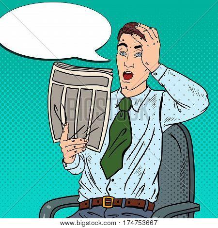 Pop Art Surprised Businessman Reading Newspaper. Bad News. Vector illustration