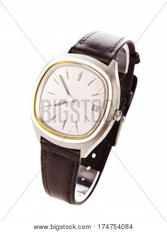 Wristwatch isolated on white background, clock, time watch