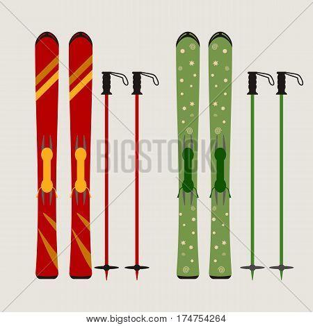ski and ski sticks flat  vector illustration