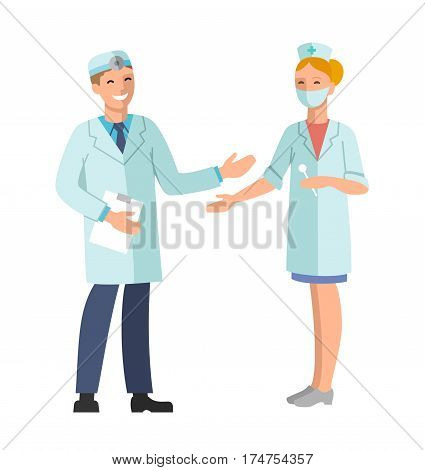 Doctor and Nurse. Vector illustration of a smiling doctor and nurse. The isolated image on a white background