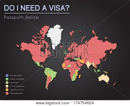 Visas Information For Belize Passport Holders. Year 2017. World Map Infographics Showing Visa Requir