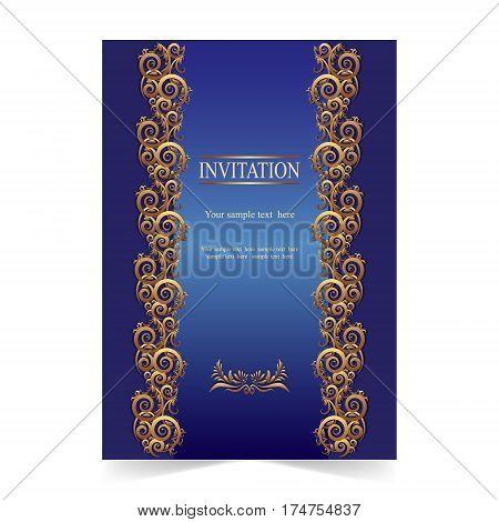 Invitation card greeting card wedding card with ornamenta on blue background