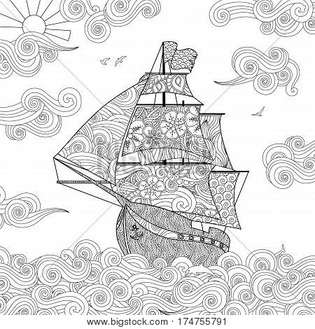 Ornate image of sailing ship on the wave in zentangle inspired doodle style. Square composition. Coloring book, antistress page for adult and children. Vector illustration.