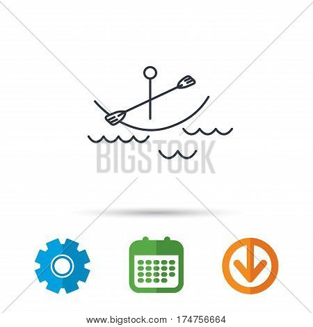 Kayaking on waves icon. Boating or rafting sign. Canoeing extreme sport symbol. Calendar, cogwheel and download arrow signs. Colored flat web icons. Vector
