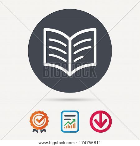 Book icon. Study literature sign. Education textbook symbol. Report document, award medal with tick and new tag signs. Colored flat web icons. Vector