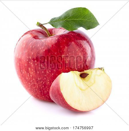 Apple with slice in closeup