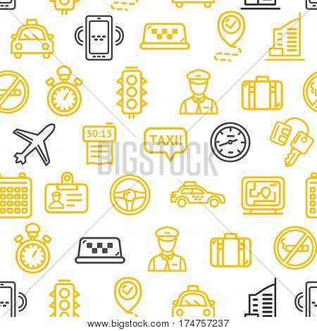 Taxi Pattern Background Fast City Services Business Design for Web and App. Vector illustration