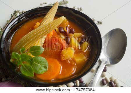 Tomato Soup With Beans On White Background.