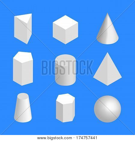 Simple geometric shapes isolated on a blue background. 3D isometric style vector illustration.