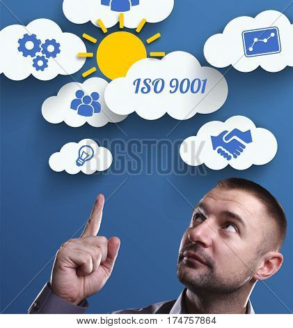 Business, Technology, Internet And Marketing. Young Businessman Thinking About: Iso 9001