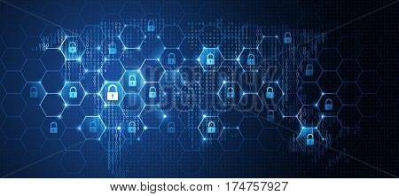 Global network security, World map. Vector illustration