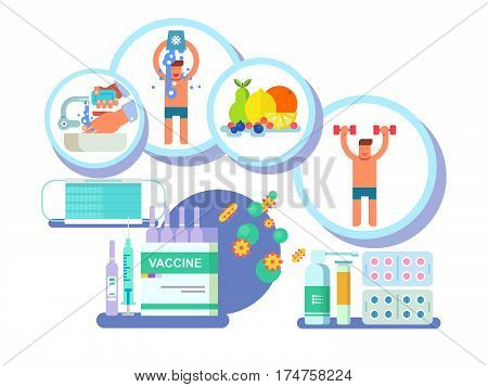 Fighting against influenza. Flu and medicine, health and virus, care and protection infection, vector illustration