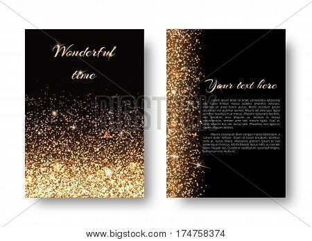 Glimmer background with christmas lights. Glitter gold on a black backdrop.
