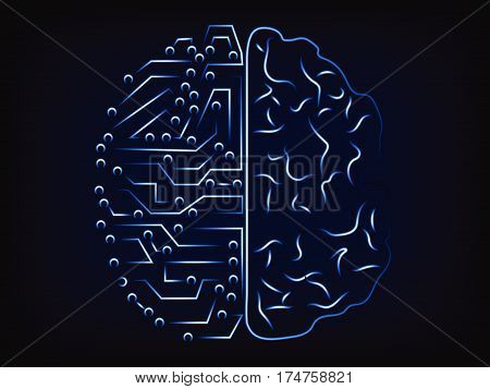 Artificial Intelligence And The Human Mind, Vector Brain Design