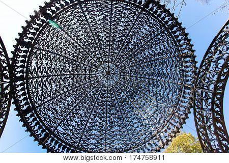 decorative wrought iron gazebo roof view from below