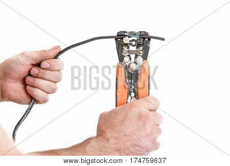 Hands Cleans Electrician Wire Pliers Special Tool. Isolated On White Background