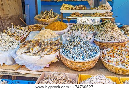 The Manning Market in Pettah offers wide range of the salted dried fish and seafood such as shredded squids Colombo Sri Lanka.
