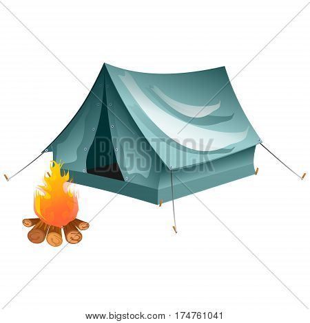 Objects bonfire, tents. Tents camping Vector tent illustration