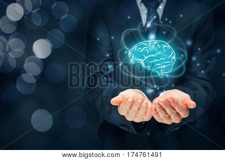 Artificial intelligence (AI), machine deep learning, creativity, headhunter, innovation and intellectual property rights. Brain representing artificial intelligence creativity innovation and similar with futuristic design.