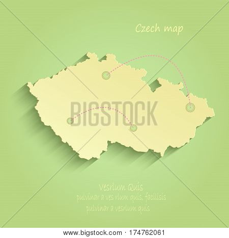 Czech map green yellow vector republic template