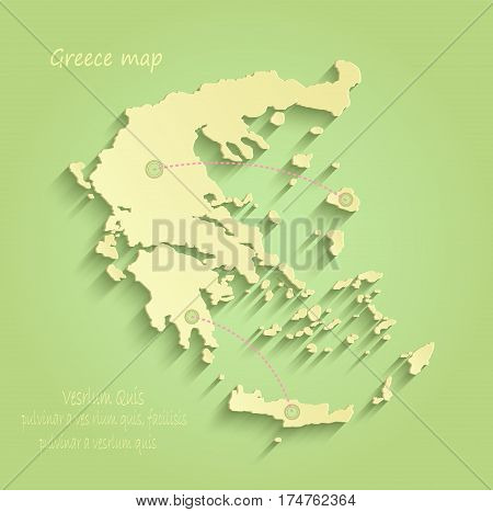 Greece map green yellow vector template outline