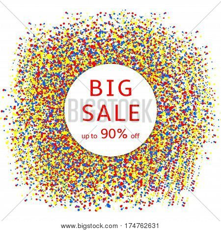 Big sale - text on the white circle and creative colorful background