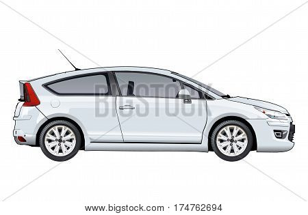 Vector car template isolated on white. Available EPS-10 vector format separated by groups and layers with transparency effects for one-click repaint