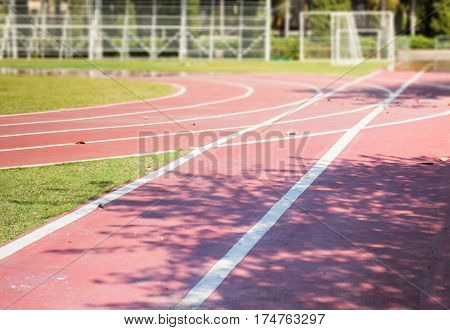 Old Running Track in School stock photo