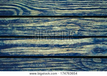 Rustic wood planks closeup. Rough lumber surface. Blue toned wooden background for vintage card. Timber texture closeup. Wooden board wallpaper or backdrop photo. Natural material banner template