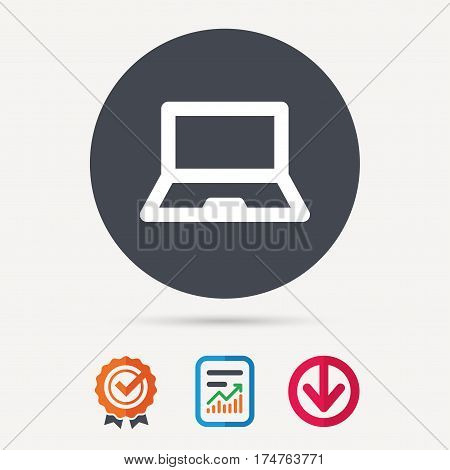 Computer icon. Notebook or laptop pc symbol. Report document, award medal with tick and new tag signs. Colored flat web icons. Vector