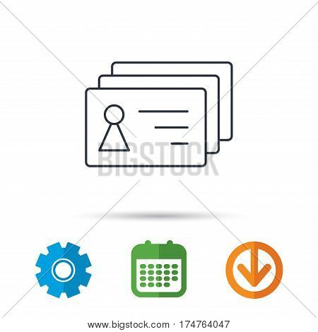 Contact cards icon. Identification badges sign. Identity holder symbol. Calendar, cogwheel and download arrow signs. Colored flat web icons. Vector