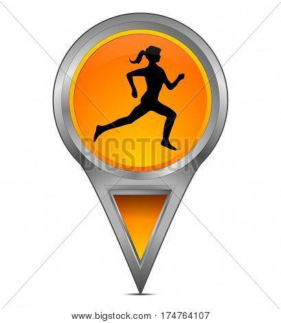 orange Map pointer with female jogger  - 3d illustration