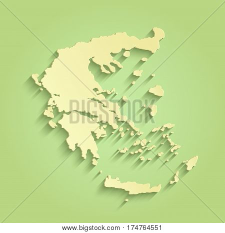 Greece green yellow raster map outline template