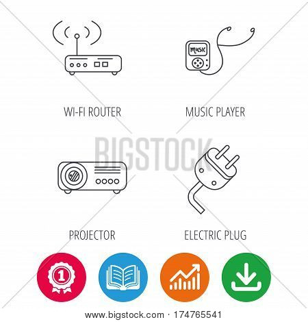 Electric plug, wi-fi router and projector icons. Music player linear sign. Award medal, growth chart and opened book web icons. Download arrow. Vector