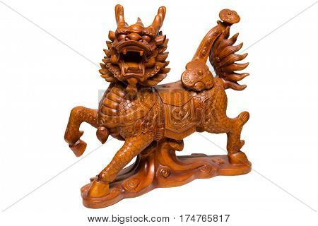 Wooden sculpture dragon horse - one of the mythical Chinese dragon, height 400 mm. Isolated on white.