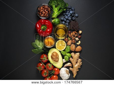 Selection of healthy food. Healthy diet foods for heart cholesterol and diabetes.