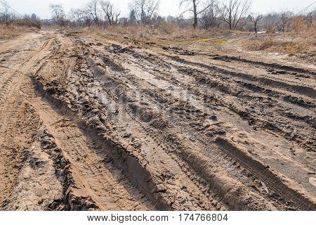 Deep Tires Tracks In The Sandy Mud