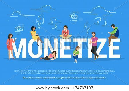 Monetize illustration of business people using devices for buying new apps and digital goods. Flat design of monetization of new project and investments growth