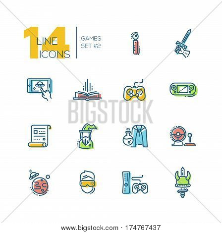 Video - modern vector thick line design icons set with accent color. Joystick, sword, mobile device app, book, portable, game console, paper, wizard, magic accessories camera ufo virtual reality. Material design concept symbols