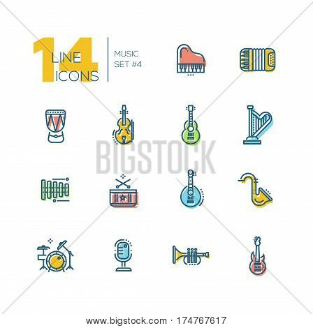 Musical Instruments - modern vector thick line design icons set with accent color. Piano, accordion, kettledrum, violin, guitar, harp, metallophone, saxophone banjo drum kit microphone trumpet. Material design concept symbols