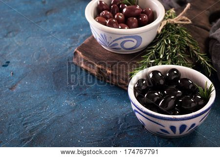 Bowls With Different Kind Of Olives Green Olives, Black Olives, Kalamata Olives On Table