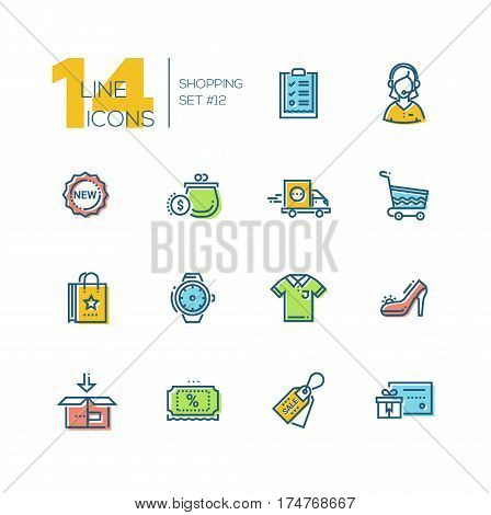 Shopping - modern vector icons set with accent color. Check-list, support, delivery, purse, label, cart, bag, watches, shirt shoes box discount sale gift voucher.