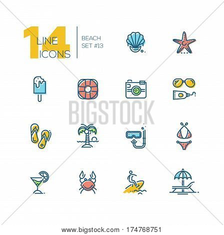 At the Beach - modern vector thick line design icons set with accent color. Seashell, sea star, ice cream, life ring, camera, sun glasses, sunscreen, swimwear, palm tree, snorkel, sandshoes, cocktail