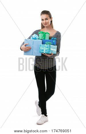 Full Length Portrait Of Young Beautifu Woman Holding Gift Boxes Isolated On White Background