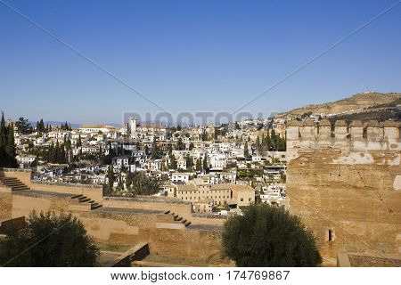 Cityscape Of Granada City And The Albaicin District, From The Alhambra Palace. Spain