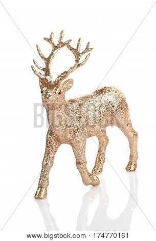 Christnas decoration golden reinder isolated on the white background