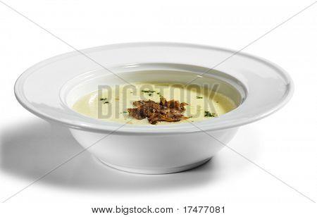 Potato Cream Soup garnished with Greens and Tartufo Bianco (white truffle)